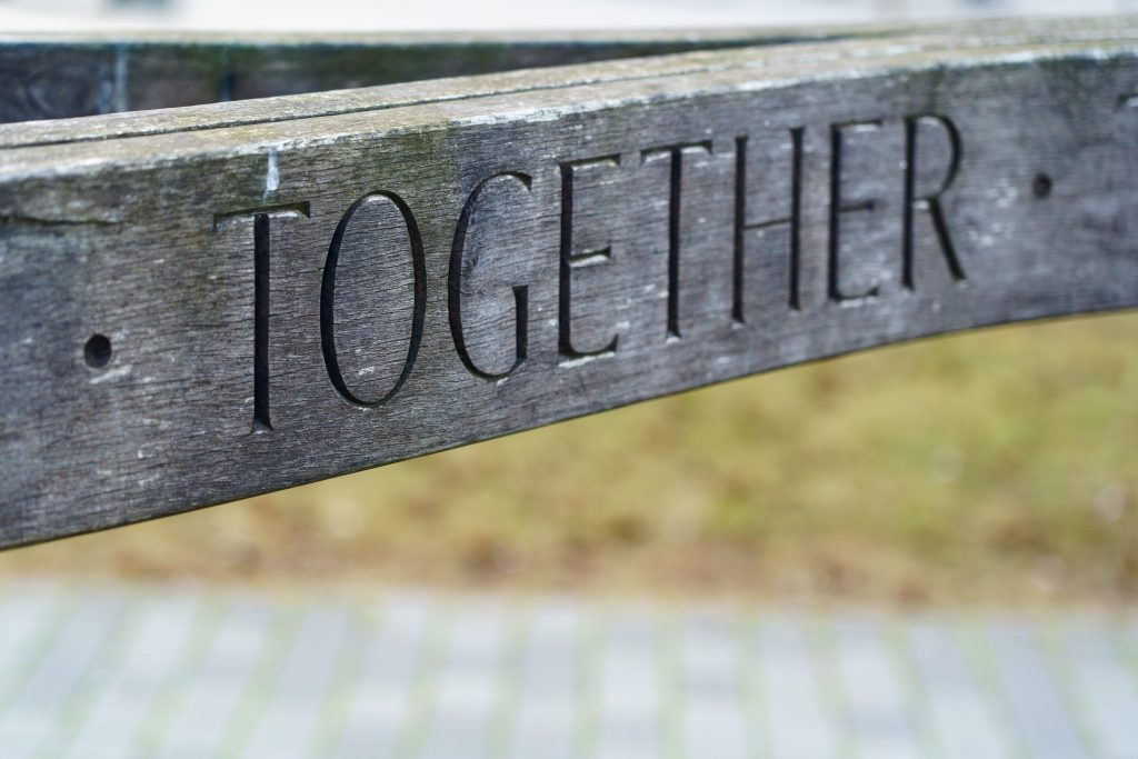 The word 'Together' on a sign